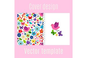 Cover design with spring decorations pattern