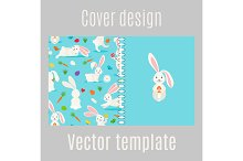 Cover design with white rabbits pattern