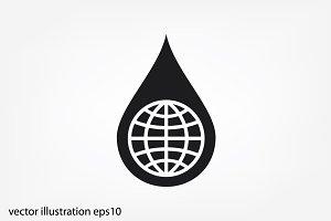Globe, drop icon