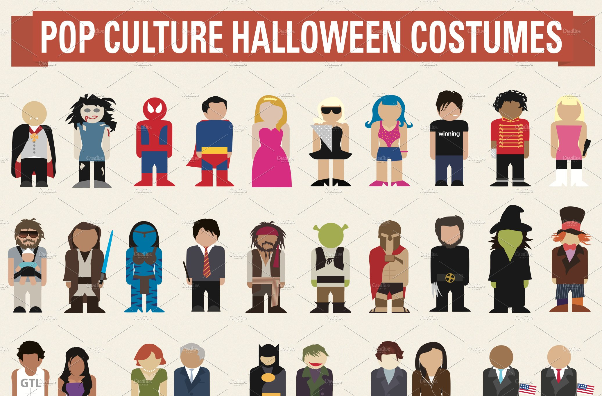 halloween pop culture costume ideas illustrations creative market - Halloween Pop Culture