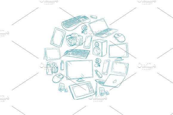 Television Video And Computer Device Electronic Gadget Hand Drawn Vector Illustration