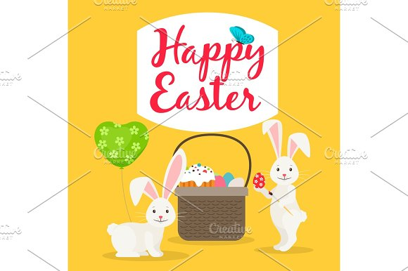 Easter basket and rabbits greeting card