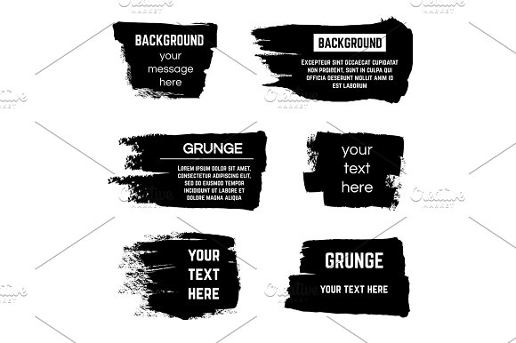 Inked Black Paint Brushed Rectangle Boxes And Frames Vector Stock