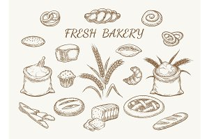 Fresh bakery elements sketch