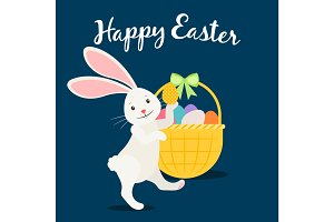 Happy easter greeting card with rabbit