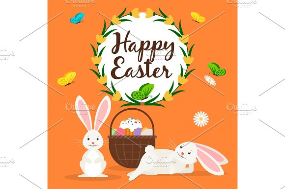 Happy easter rabbits and basket card