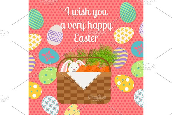 Happy Easter pink vertical greeting card in Illustrations