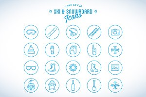 Line Style Ski & Snowboard Icons