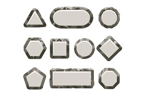 Indie game grey rock button set