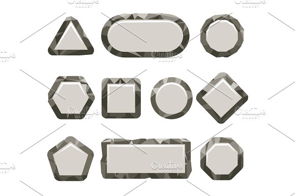 Indie Game Grey Rock Button Set
