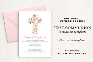 Watercolor Pink Floral Cross Invite