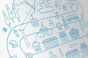 Ski Resort Vector Illustration