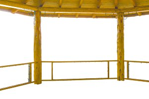 Roof and Railing Wooden Construction Isolated