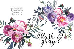 Blush & Gray Watercolor Flowers