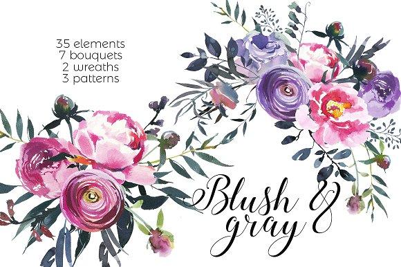Blush Gray Watercolor Flowers