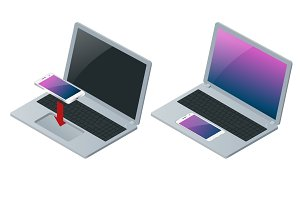 Laptop and mobile phone isolated on white. Flat 3d vector isometric illustration