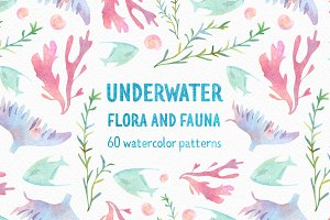 Underwater watercolor patterns