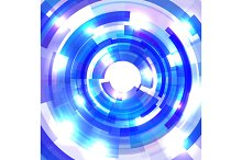 Shining blue circle tunnel