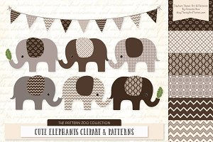 Chocolate Brown Elephant Clipart
