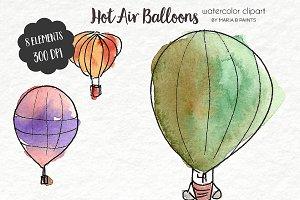 Watercolor Clip Art - Balloons