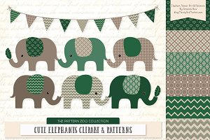 Emerald Green Elephant Clipart