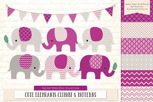 Fuchsia Elephant Clipart