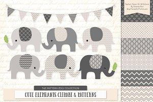Elephants Clipart & Patterns in Grey