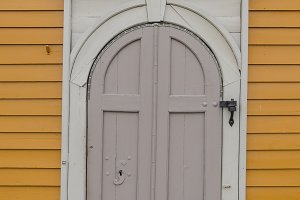 crooked wooden door