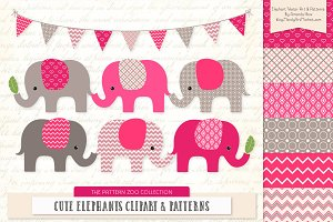 Hot Pink Elephant Clipart