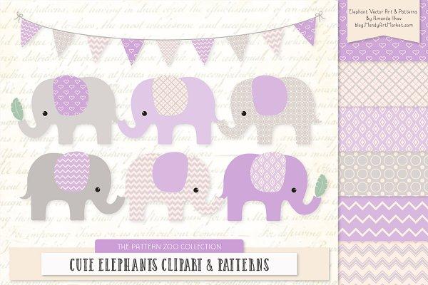 Lavender Elephant Clipart