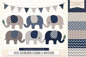 Elephants Clipart & Patterns in Navy