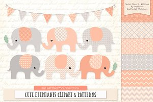 Peach Elephant Clipart