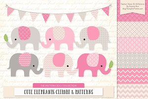 Elephants Clipart & Patterns in Pink