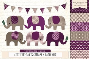 Elephants Clipart & Patterns in Plum