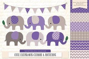 Purple Elephant Clipart