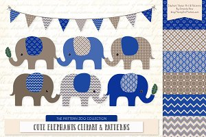 Royal Blue Elephant Clipart