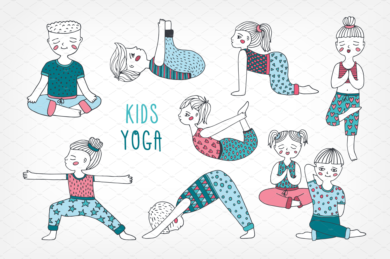 Yoga Poses For Kids Pre Designed Illustrator Graphics Creative Market