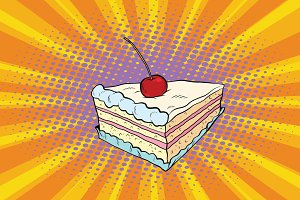 Tender cake with a cherry