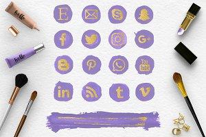 Social Media Icons - Violet & Gold