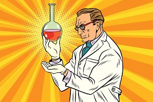 Scientist chemist analyzes laboratory flask