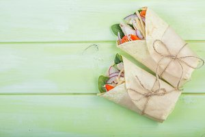 Tortilla wrap with chicken and vegetables