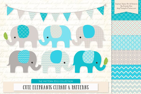 Tropical Blue Elephant Clipart