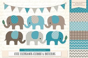 Vintage Blue Elephant Clipart