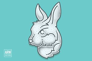 Dotwork Rabbit Head