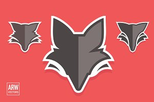 3 Fox Head Logos Set