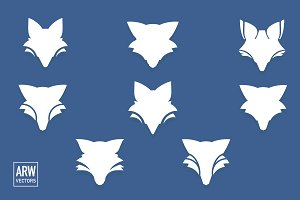 6 Fox Head Logo Set