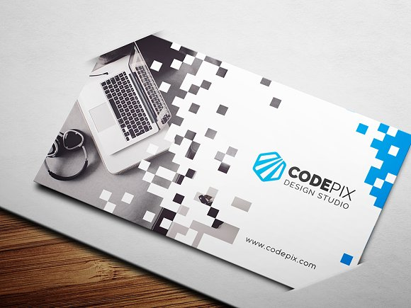 Pixel business card business card templates creative market colourmoves