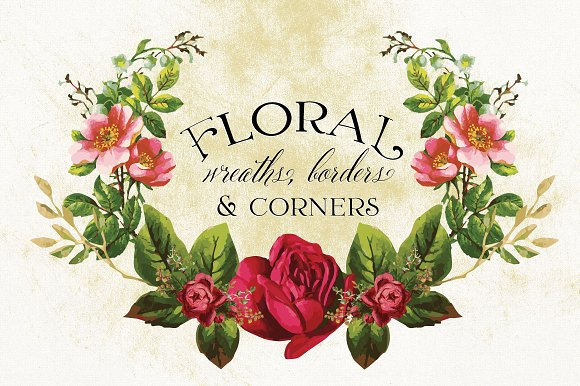 Floral Wreaths Borders Corners Graphic Objects Creative Market