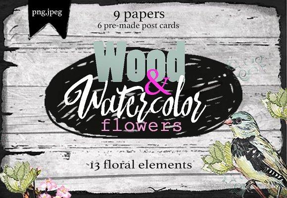 flowers & wood-Graphicriver中文最全的素材分享平台