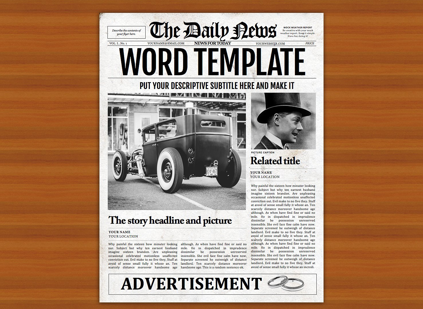 Vintage word newspaper template flyer templates for Old fashioned newspaper template free